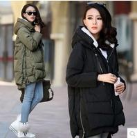free shipping 2014 new women Europe style fashion loose medium long autumn winter plus size down parkas lady down coat hot C1950
