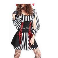 Fashion Wild Pirate Black & White Stripes Pattern Women's Halloween Sexy Costume