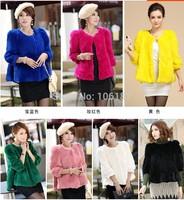 Top sale 2014 fashion female faux fur coat cloak style  high quality rabbit fur women's round collar short faux fur  coat