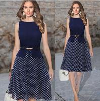 New 2014 women summer dress fall fashion casual dot dress female belt splicing party dresses