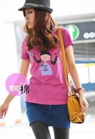 Sweet Girl Picture Printed T-shirts For Women Round Collar Short Sleeves Casual Summer Cotton Tees Top Rose/Green/White