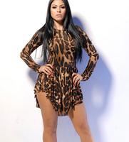 Plus size sexy midi dress long sleeve leopard print  nightclub casual mini dress for freeshipping