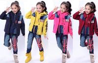 Children's Sweatshirt Long Sleeve Sweatshirt+Vest+Pants 3Pcs Set Thick Winter Hoodies Fashion British Flag Patchwork Denim Hoody