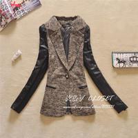 J8808 2014 Autumn new Women's PU blazer Lady Blazers feminino Women's Suit blaser blazer for women female outwear