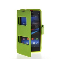 View Window Leather Side Flip Wallet Stand Pouch Cover Case For Sony Xperia Z1 Compact (Mini)
