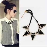 CMN009 Best Price For Sales Punk Rocking Black Triangle Choker Necklace Women Collar Necklace