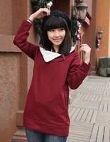 Korean Pattern Buttons Desigual Hoodie Sweatshirt For Women Long Sleeve Casual Slim Fleece Cotton Pockets Autumn Coat Red