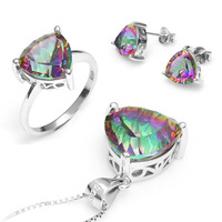 Wholesale Women Jewelry Genuine Rainbow Fire Mystic Topaz Ring Pendant Earring Set 925 Solid Sterling Silver Free shipping