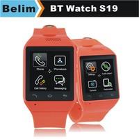 Smart Watch S19 1.54'' Touch Screen Wristwatch Handsfree GSM FM Sync Bluetooth Smartwatch for Samsung HTC Huawei Smartphones