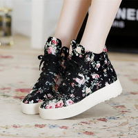 New 2014 spring fashion women high canvas shoes height Increasing plus size35-40 platform women sneakers