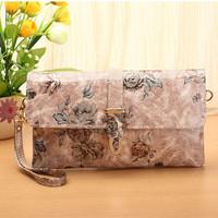 Flower printing women clutch handbag genuine leather brand small chain women messenger bags desigual  hasp arrow crossbody  bag