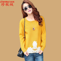 Cashmere sweater female 2014 spring loose medium-long basic pullover sweater thickening sweater