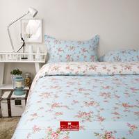 2014 Winter Home textile 100% cotton bedding light blue floral cotton bedding sets quilt cover pillow cases king queen