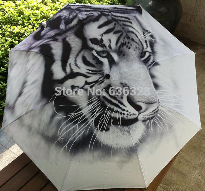2014 New Novelty Items Arts Umbrella Tiger King Of forest Beach Umbrellas Creative Oil Painting Anit-UV Decorative Umbrella(China (Mainland))
