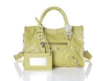 Free Shipping Genuine Leather Women Handbag Fashion Small Rivets Lady Mini City Size Motorcycle Bag Shoulder Bag 27 cm
