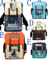 3PCS 5 Color Attack on Titan casual shoulder bag / Backpack / Dual-use backpack Shoulders Messenger laptop Computer  school bag