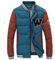New 2014 Men Cotton Padded Jacket Winter Outdoors Parka Jaqueta Masculina Baseball Uniform Lovers Clothing Causal Down Coat