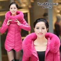 2014 leather clothing genuine leather down coat female fur medium-long large fox fur slim outerwear