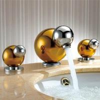"Gold Brass Bathroom Basin Faucet Handles Hot Cold Basin Mixer Water Tap Deck Mounted 4"" Minispread torneira para banheiro"