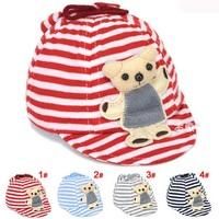New style 0-3M Newborn baby cotton hat Stripe Bear Infant Cute Cartoon Caps Baby Baseball Caps Sun Hats 1pc H559