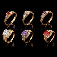 Fast Free shipping 10+2=12  Pcs Mix HOT Designs 18K Gold Filled Cubic Zirconia Girls wedding Fashion rings Jewelry  ZH0045