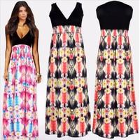 Sale Promotion!!! New 2014 Summer Bohemian Long Dress Women Sexy V-neck Print Beach Dresses Plus Size Chiffon Women Summer Dress