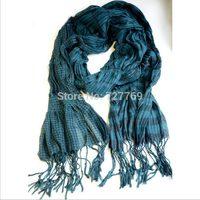 Womens 2014 European thermal plaid cotton tassel scarf for autumn Winter