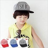 New Letter SUPER Stripe Children Cute Cotton Caps Kids Baseball Caps Child Sun Hats 1pc H560