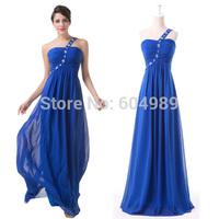 2015 Grace Karin One shoulder elegant Royal Blue Evening Dress bandage long Formal Party Prom Dress Masquerade ball gowns 6209