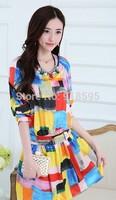 New 2014 Autumn Women Dress Fashion sweet Slim Women square pattern Dress Free Shipping Promotion