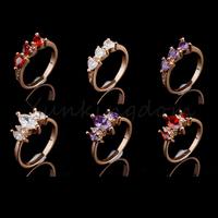 Fast Free shipping 10+2=12  Pcs Mix HOT Designs 18K Gold Filled  Cubic Zirconia Romance Fashion rings Jewelry  ZH0049