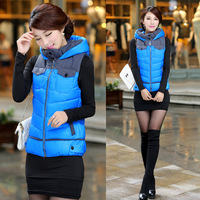 2014 Autumn Winter Women Jacket Vest Cotton-Padded Coat Down Short Jacket Hooded Winter Coats Cheap Women Clothing Size L-41