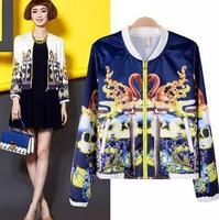 2014 European Style Brand Zipper All-match Women Full Sleeve Jacket Coat Crane Print Spring Fall Women Lady Outwear CL1956