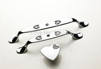 10pcs/lot, Modern luxury Heart Crystal K9 handle cabinet handle drawer  wardrobe door handles( two holes length=128mm)