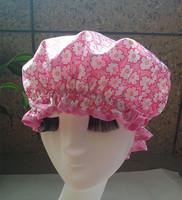 Flowers small  Wholesale Satin waterproof shower cap  shower parts barber salon supplies EVA hat hair satin bonnets