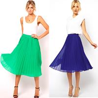 Elegant Women Summer Beach Skirt Boho Pleated Chiffon Midi Skirts Candy Color Freeshipping