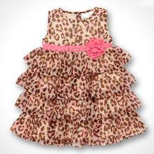 Free shipping 2014 NEW summer Baby Kids Toddler Girl Princess Dress Clothes Leopard print girls Tutu dresses(China (Mainland))