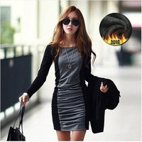 Free shipping Hot Sale Fashion 2014 New Autumn and Winter Dress Fitting Long Sleeved Splicing Bottom Dress Women's Dress Code 09