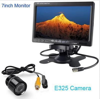 """HD 7"""" LCD car media Monitor DVD/VCD/GPS/TV dispaly Screen + E325 car LED rear view Camera Night Vision Parking SENSOR(China (Mainland))"""