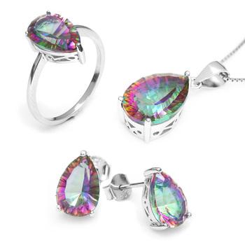 Hot Женщины's Pear 4.5ct Genuine Gem Stone Rainbow Mystic Верхaz Pendant Ring ...