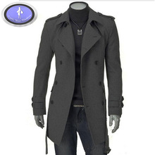 B044 new Autumn and winter Cultivate one's morality in long coat lapels with belt Son cloth fashion leisure Men's trench coat(China (Mainland))