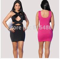 Free shipping women's sleeveless  black cutout bodycon dress hollow out nightclub mini dress neck halter cross maxi size