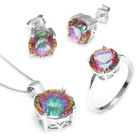 Round Genuine Rainbow Fire Mystic Topaz Pendant Ring Earring For Women Solid 925 Sterling Silver 2014 Brand Fashion Sets