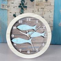 Continental Mediterranean garden desk table clock watches old wooden fish retro alarm clock desktop Nordic