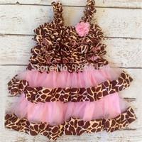 Summer Dress 2014 Girl Giraffe Satin Ruffle With Pink Chiffon Petti Dress Little Girl Leopard Birthday Party Dress Free Shipping