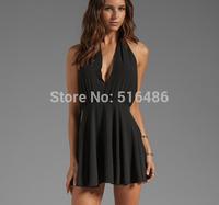 Free shipping women's sleeveless  black cutout bodycon dress deep V neck nightclub mini dress backless
