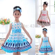 Hot NWT Kids Girls Princess Bow Belt dress Circle Bubble Peacock print kids Dress girl's Party Clothes 2-7Y free shipping(China (Mainland))