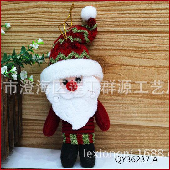 F10 Santa Gifts Holiday Plush Ornaments Santa Claus and Snowman with Spring Body Xmas Tree Christmas Decoration FREESHIPPING(China (Mainland))