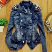 Fashion Spring Autumn Women Denim Coat Outerwear Short Design Long-Sleeve Jean Jacket SV005836