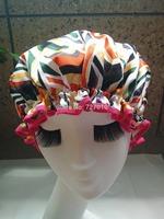 Bright line Wholesale  waterproof shower cap homewale shower parts barber salon supplies colorfull EVA hat hair satin bonnets